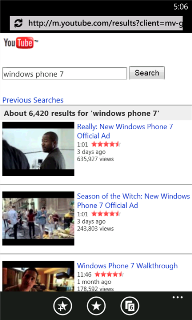 YouTube v.1.0.0.0 для Windows Phone