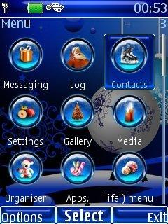 Тема Blue Christmas для телефона Nokia