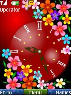 Тема цветочные часы (Flowers Clock) для Nokia