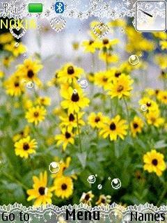 Тема Желтые цветы (yellow flowers) для телефона Nokia