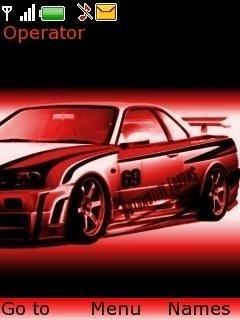 Тема красный Nissan Skyline на телефон