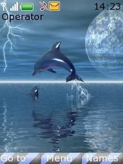 Тема Дельфины в лунном свете (Dolphins in moonlight) для телефона скачать