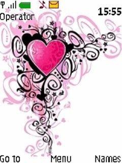 Тема розовое сердце (pink heart) для телефона