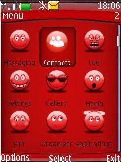 Тема красный смайлик (Red Smiley) для телефона