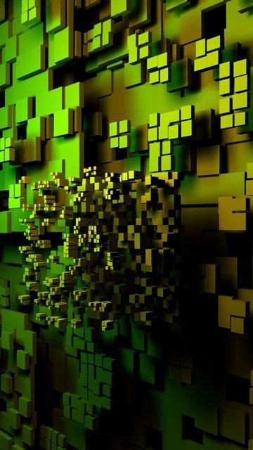 Картинка Зеленые кубики (Green Cubes) 360x640