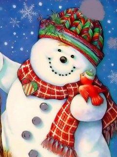 Картинка веселый снеговик 240x320 для Нокиа