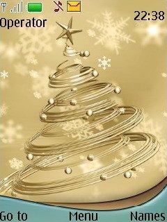 Тема золотая елка (golden christmas tree) для Нокиа