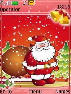 Тема Санта на красном фоне (Santa on red background)