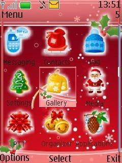 Тема Санта на красном фоне (Santa on red background) для телефона