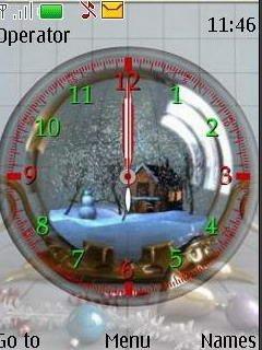 Тема зимние часы (Winter Clock) для Нокиа