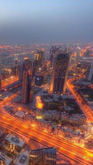 Картинка Огни города Дубаи (Dubai City Lights) 360x640 для Нокиа