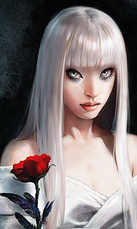 аниме девушка с розой: