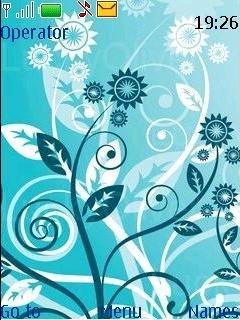 Тема голубые цветы на Нокиа