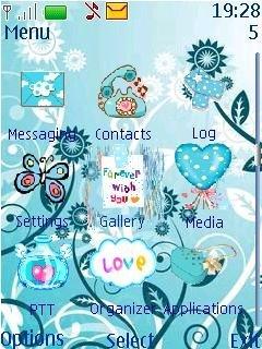 Тема голубые цветы на Nokia