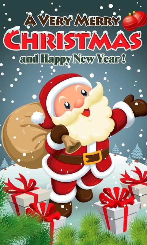 Картинка Санта с подарками на телефон 480x800