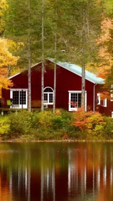 Дом в Канаде на берегу озера в лесу (House in Canada) 360x640 картинка